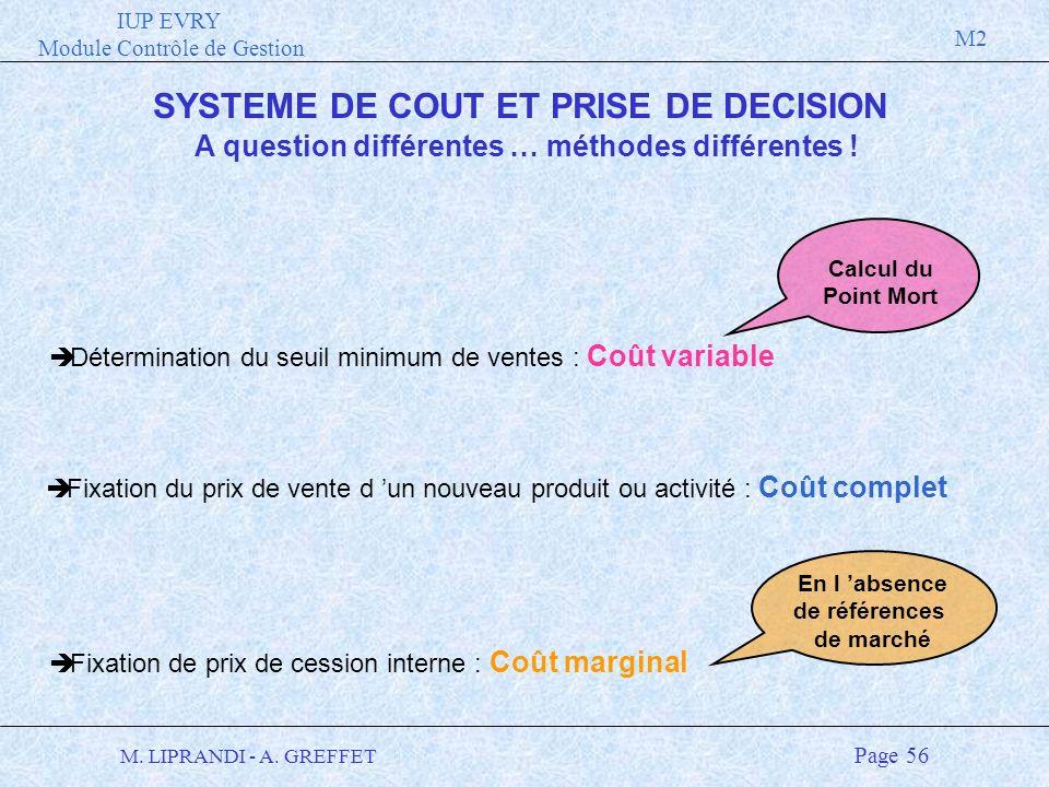 SYSTEME DE COUT ET PRISE DE DECISION