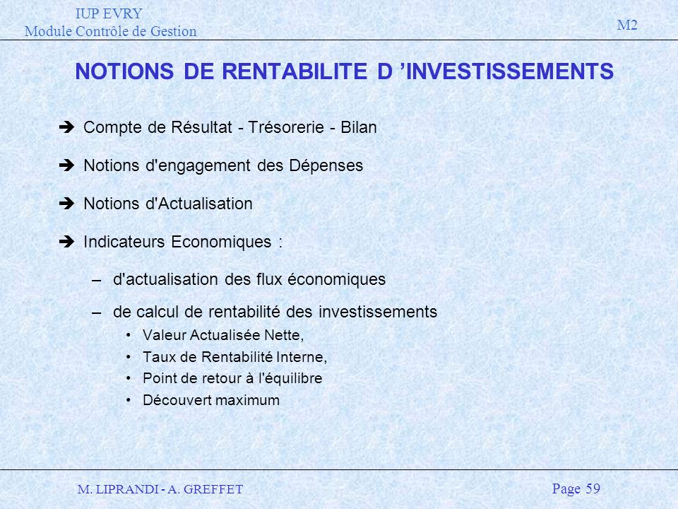 NOTIONS DE RENTABILITE D 'INVESTISSEMENTS