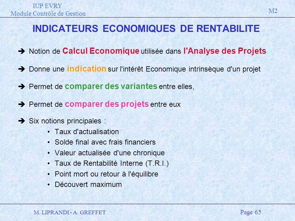 INDICATEURS ECONOMIQUES DE RENTABILITE