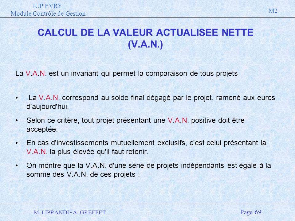 CALCUL DE LA VALEUR ACTUALISEE NETTE (V.A.N.)