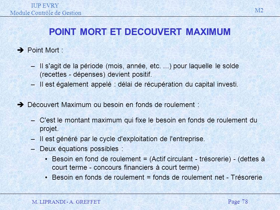 POINT MORT ET DECOUVERT MAXIMUM