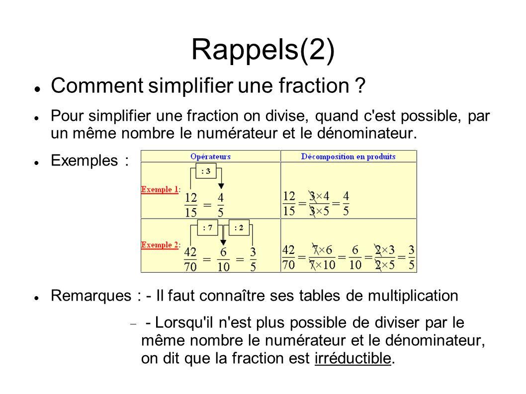 Rappels(2) Comment simplifier une fraction