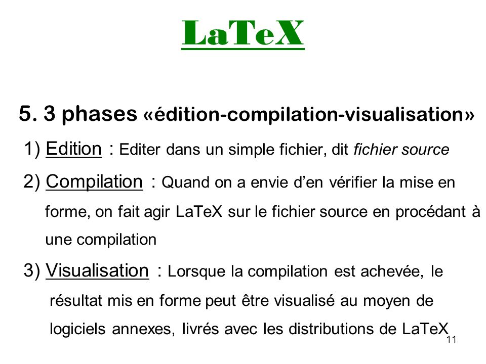 LaTeX 5. 3 phases «édition-compilation-visualisation»