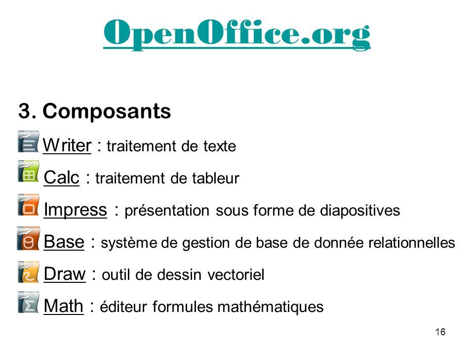 OpenOffice.org 3. Composants Writer : traitement de texte