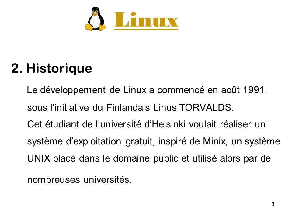 Linux 2. Historique Le développement de Linux a commencé en août 1991,