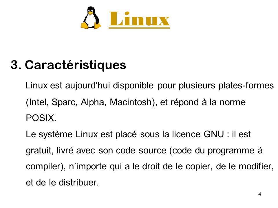 Linux 3. Caractéristiques