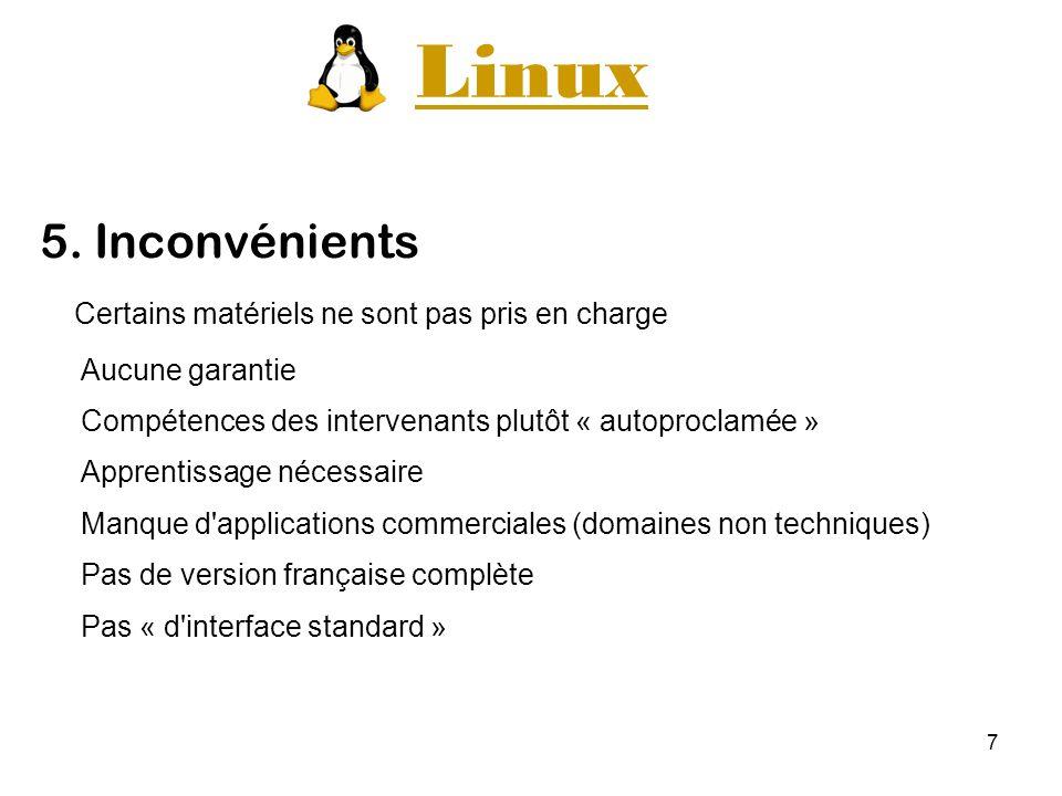 Linux 5. Inconvénients Certains matériels ne sont pas pris en charge