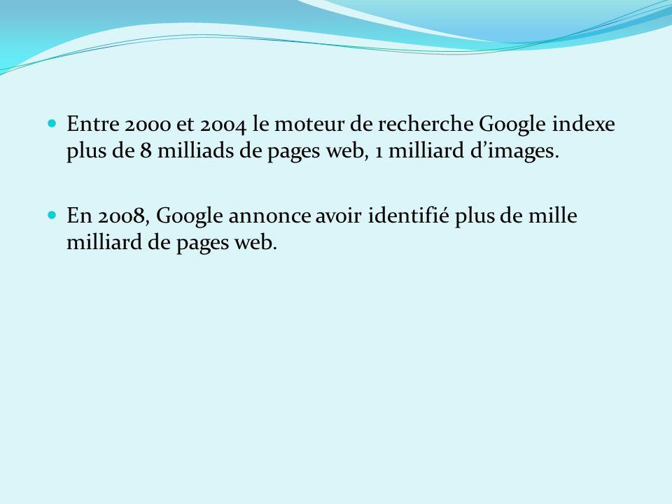 Entre 2000 et 2004 le moteur de recherche Google indexe plus de 8 milliads de pages web, 1 milliard d'images.