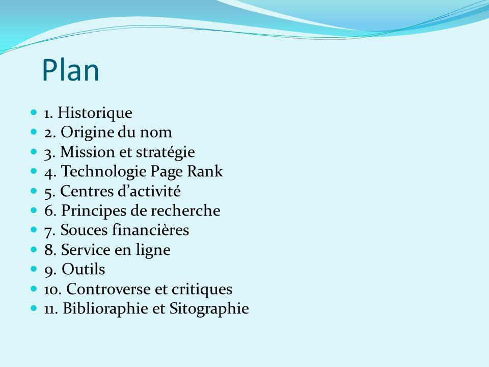 Plan 1. Historique 2. Origine du nom 3. Mission et stratégie