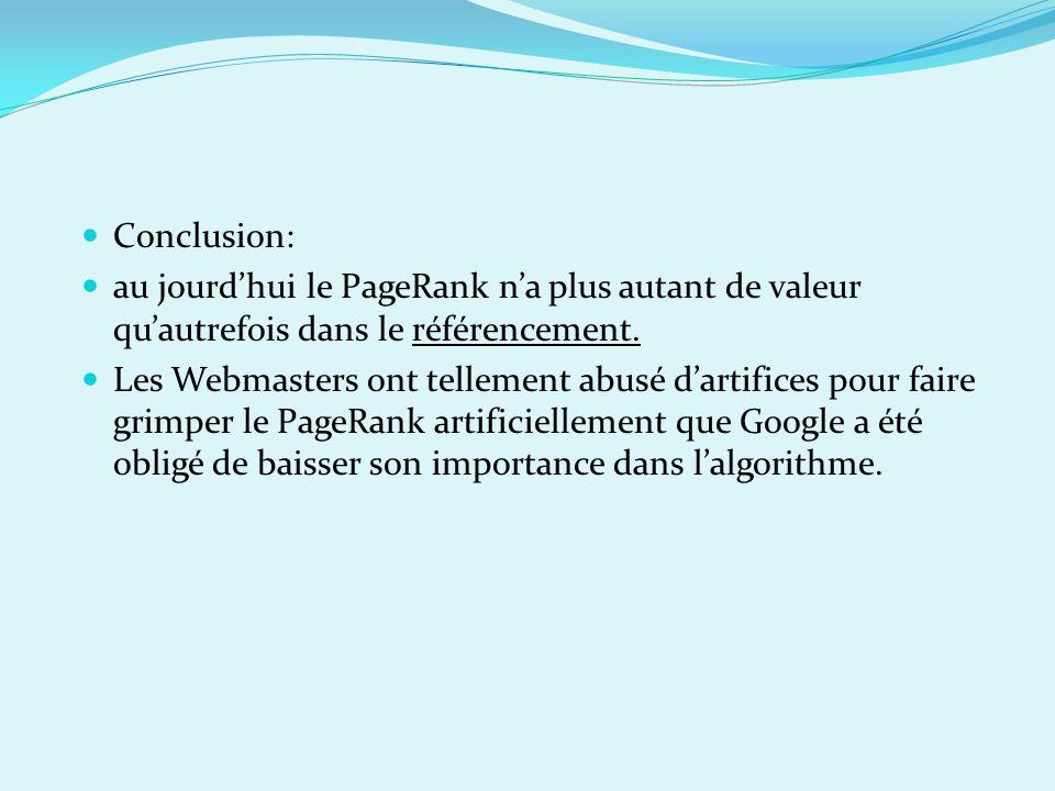Conclusion: au jourd'hui le PageRank n'a plus autant de valeur qu'autrefois dans le référencement.