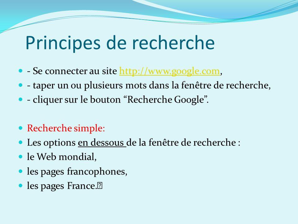 Principes de recherche