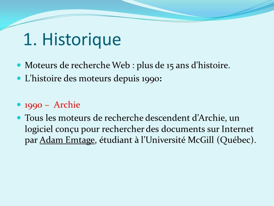 1. Historique Moteurs de recherche Web : plus de 15 ans d histoire.