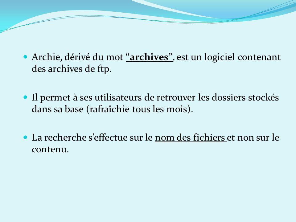 Archie, dérivé du mot archives , est un logiciel contenant des archives de ftp.