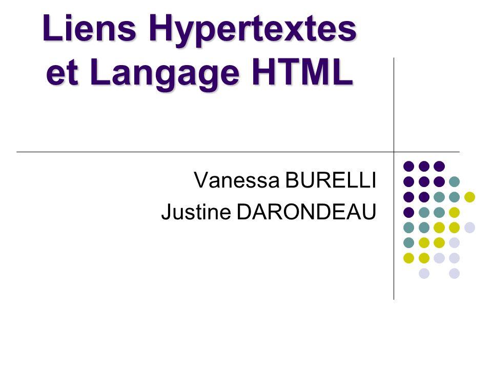 Liens Hypertextes et Langage HTML