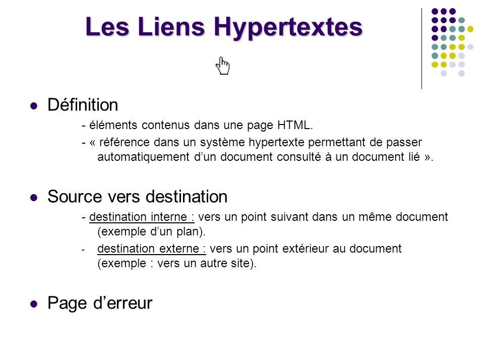 Les Liens Hypertextes Définition Source vers destination Page d'erreur