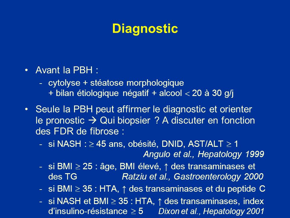 Diagnostic Avant la PBH :