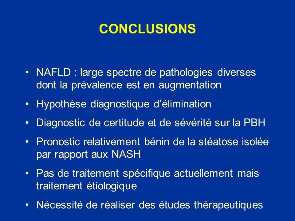 CONCLUSIONS NAFLD : large spectre de pathologies diverses dont la prévalence est en augmentation. Hypothèse diagnostique d'élimination.