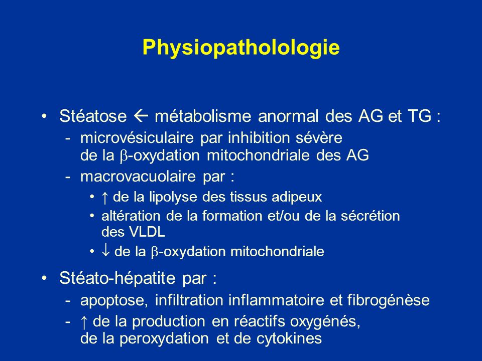 Physiopatholologie Stéatose  métabolisme anormal des AG et TG :