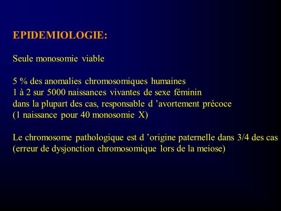 EPIDEMIOLOGIE: Seule monosomie viable