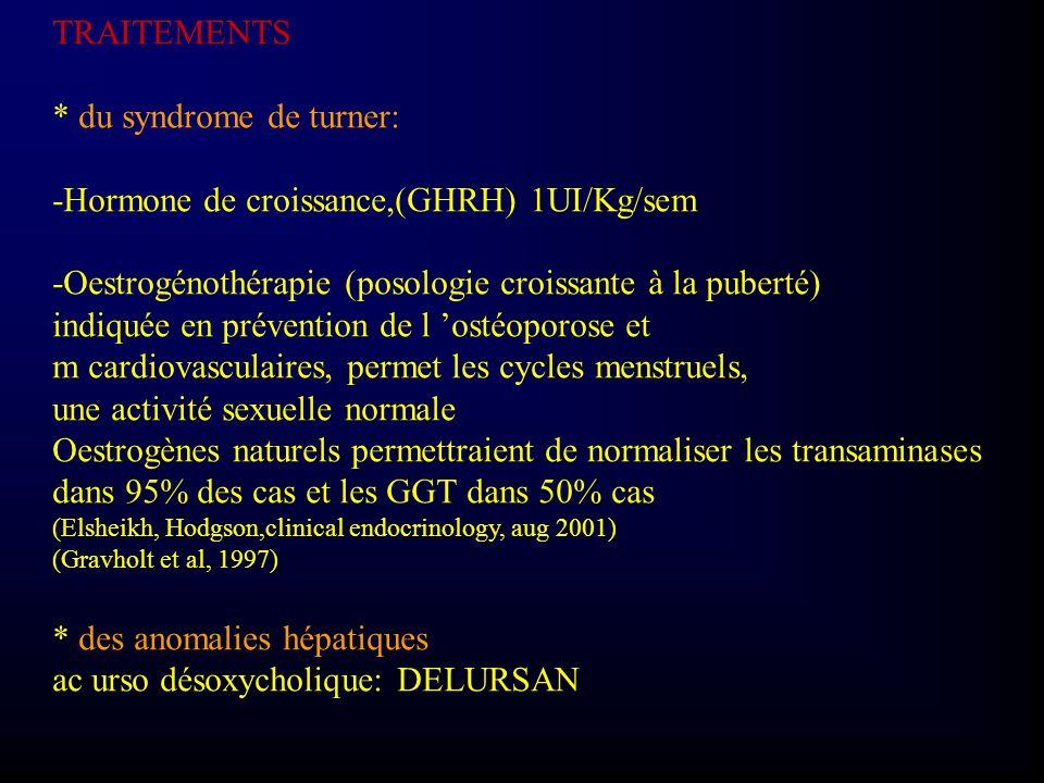 * du syndrome de turner: -Hormone de croissance,(GHRH) 1UI/Kg/sem