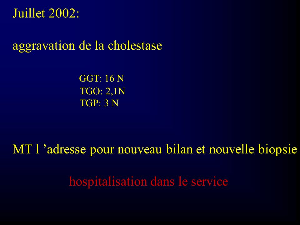 aggravation de la cholestase GGT: 16 N