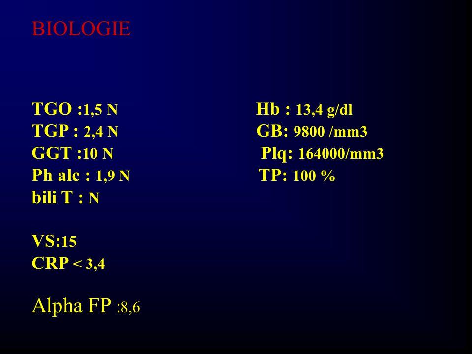 BIOLOGIE Alpha FP :8,6 TGO :1,5 N Hb : 13,4 g/dl