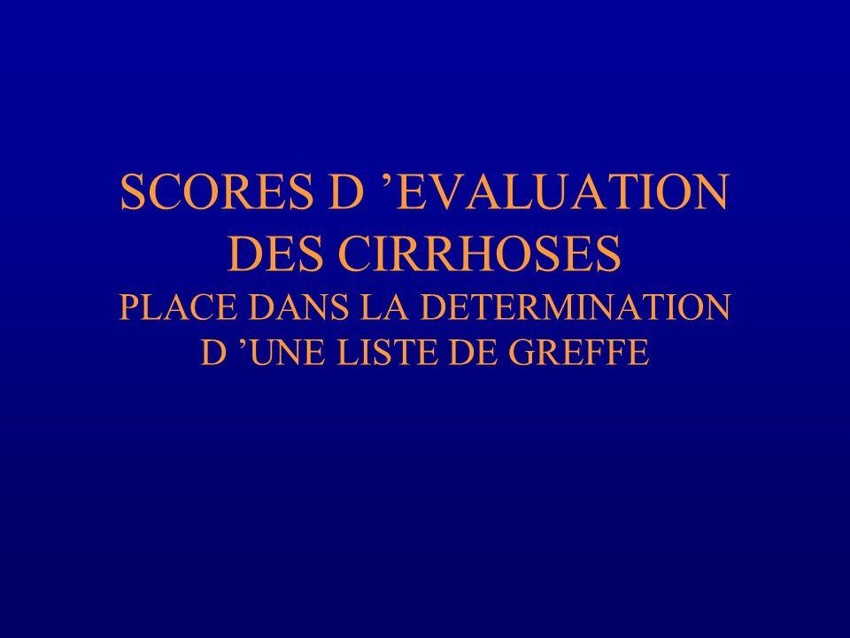 SCORES D 'EVALUATION DES CIRRHOSES PLACE DANS LA DETERMINATION D 'UNE LISTE DE GREFFE