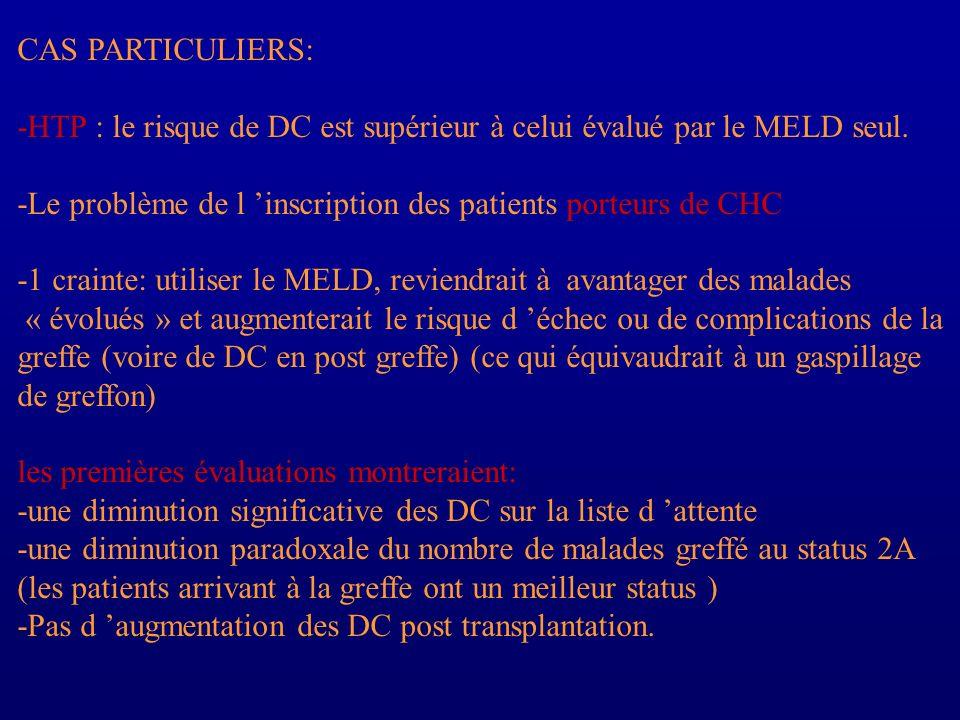 CAS PARTICULIERS: -HTP : le risque de DC est supérieur à celui évalué par le MELD seul. -Le problème de l 'inscription des patients porteurs de CHC.