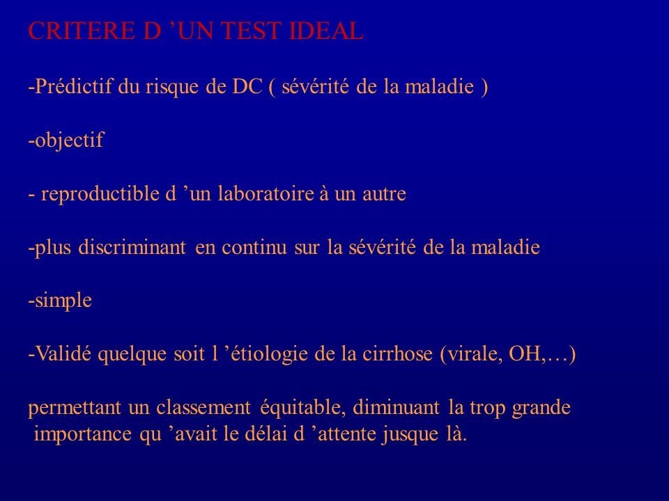 CRITERE D 'UN TEST IDEAL