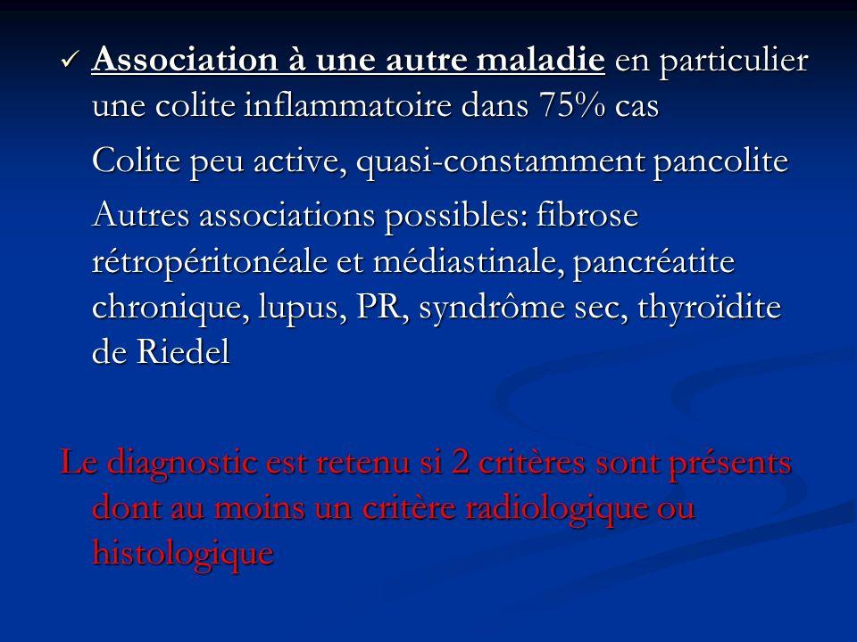 Association à une autre maladie en particulier une colite inflammatoire dans 75% cas