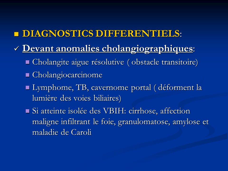 DIAGNOSTICS DIFFERENTIELS: Devant anomalies cholangiographiques: