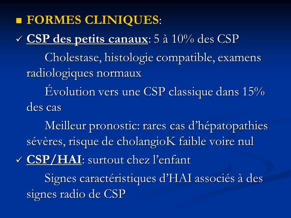 FORMES CLINIQUES: CSP des petits canaux: 5 à 10% des CSP. Cholestase, histologie compatible, examens radiologiques normaux.