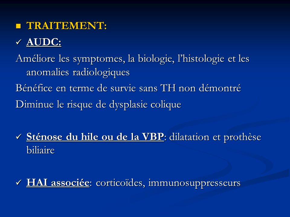 TRAITEMENT:AUDC: Améliore les symptomes, la biologie, l'histologie et les anomalies radiologiques. Bénéfice en terme de survie sans TH non démontré.