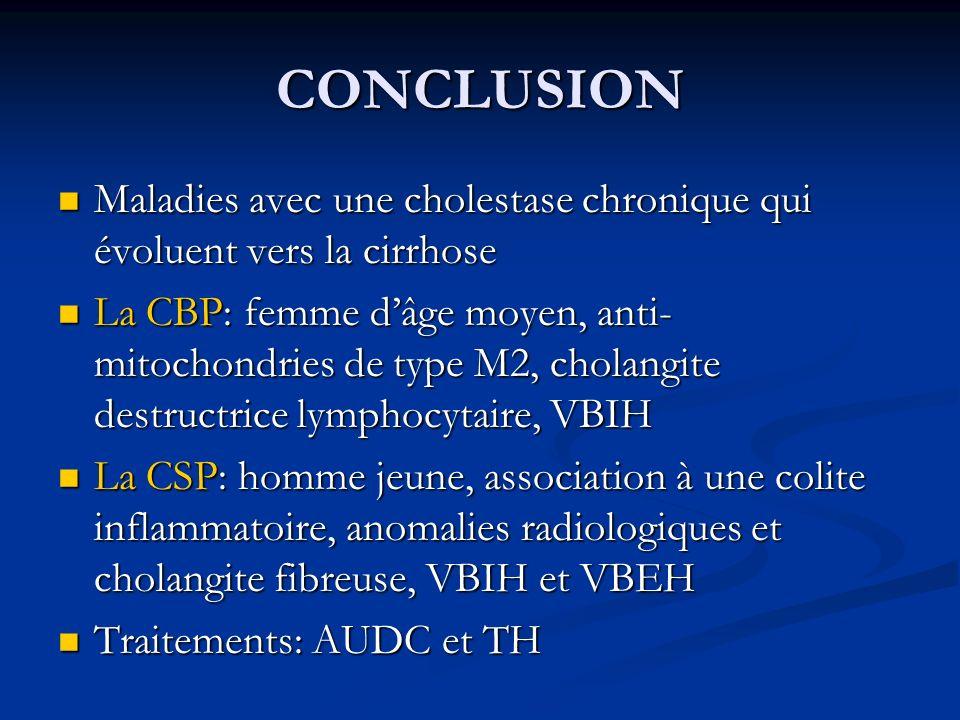CONCLUSION Maladies avec une cholestase chronique qui évoluent vers la cirrhose.