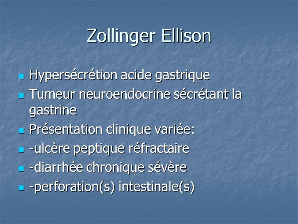 Zollinger Ellison Hypersécrétion acide gastrique