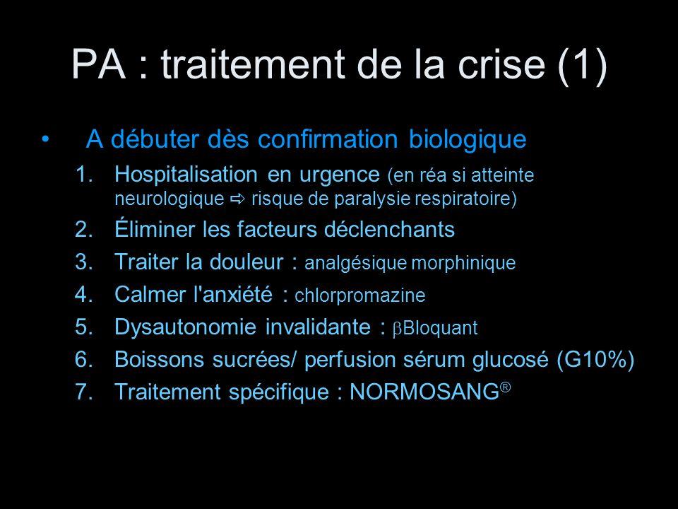 PA : traitement de la crise (1)