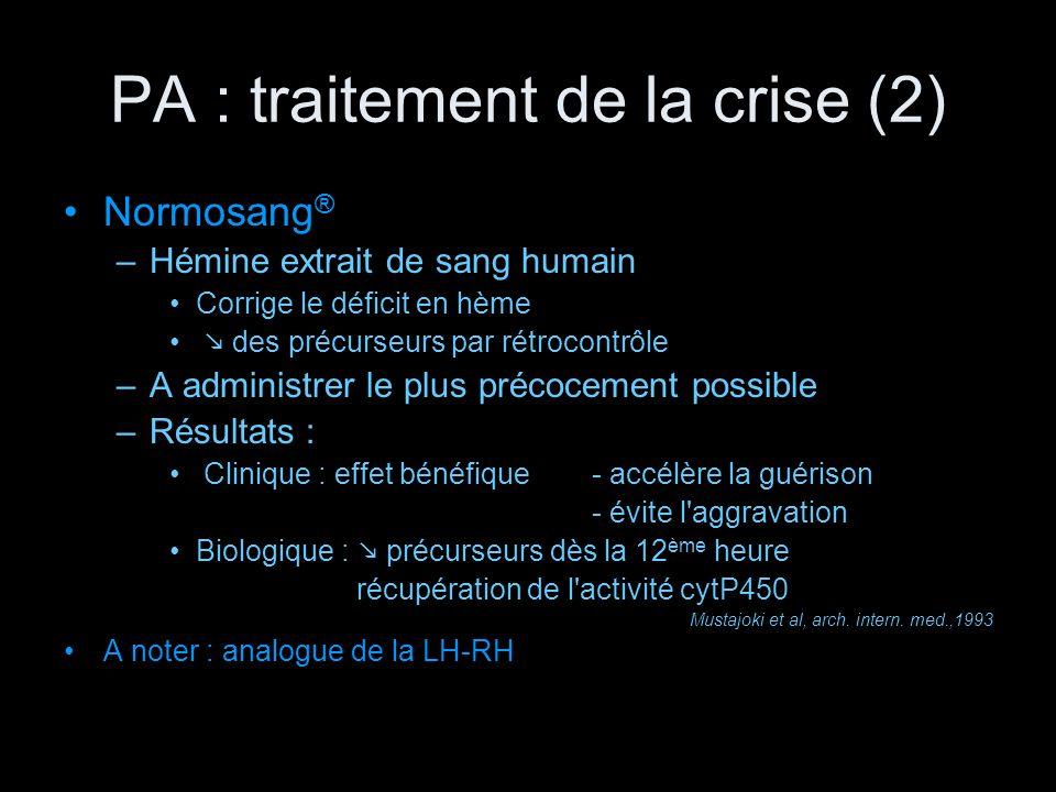 PA : traitement de la crise (2)