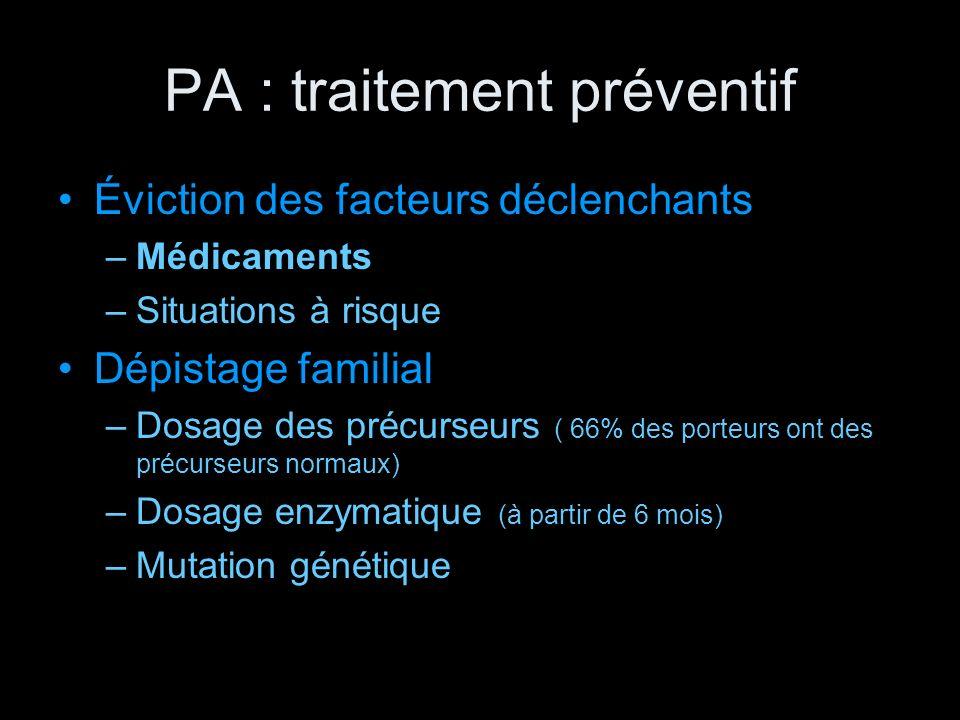PA : traitement préventif