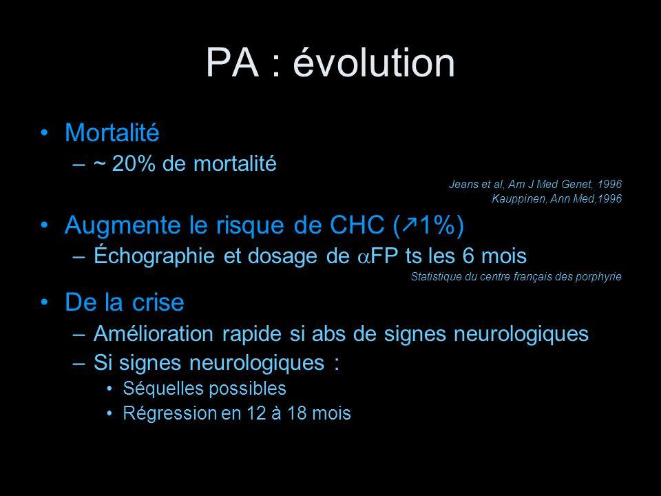 PA : évolution Mortalité Augmente le risque de CHC (k1%) De la crise