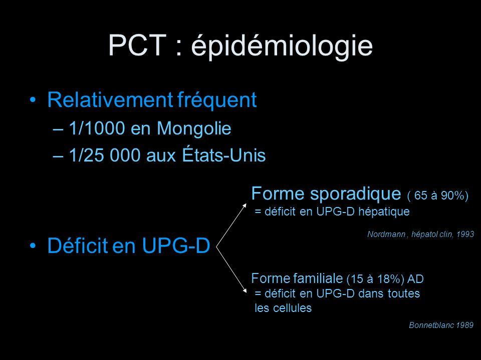 PCT : épidémiologie Relativement fréquent Déficit en UPG-D