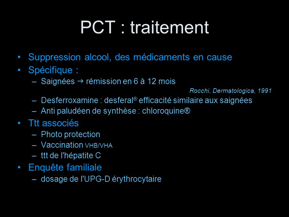 PCT : traitement Suppression alcool, des médicaments en cause