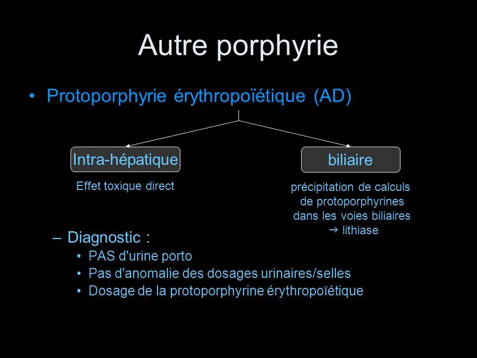 Autre porphyrie Protoporphyrie érythropoïétique (AD) Intra-hépatique
