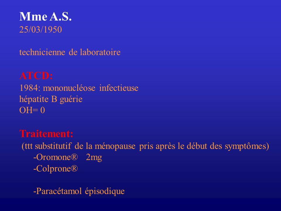 Mme A.S. ATCD: Traitement: 25/03/1950 technicienne de laboratoire