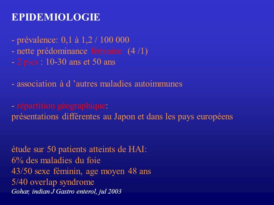 EPIDEMIOLOGIE - prévalence: 0,1 à 1,2 / 100 000
