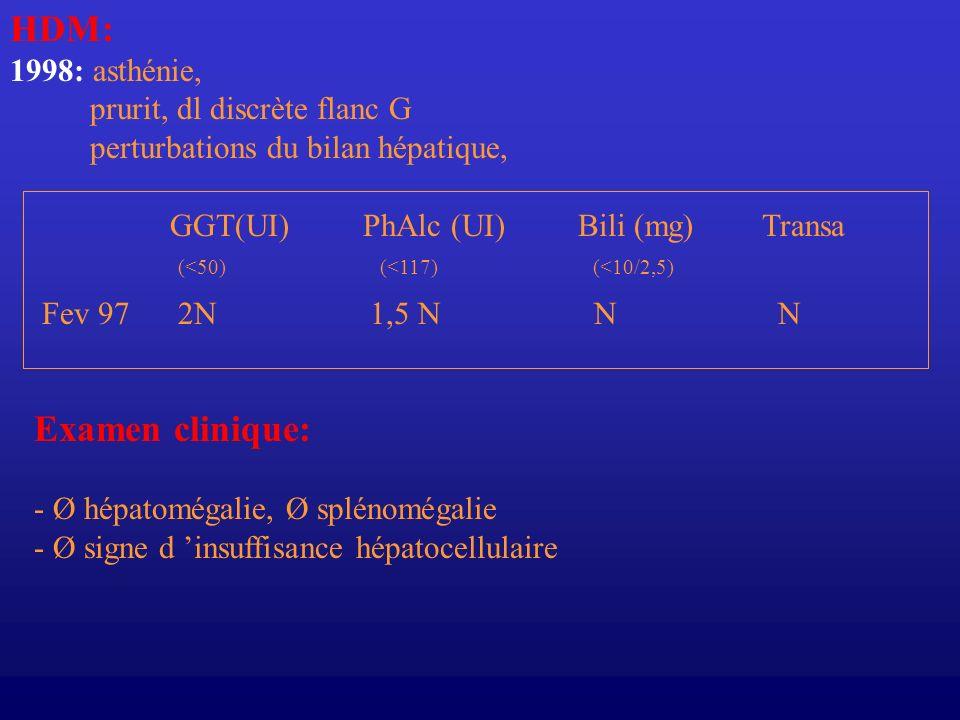HDM: Examen clinique: 1998: asthénie, prurit, dl discrète flanc G
