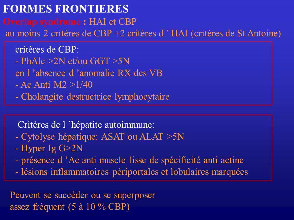 FORMES FRONTIERES Overlap syndrome : HAI et CBP