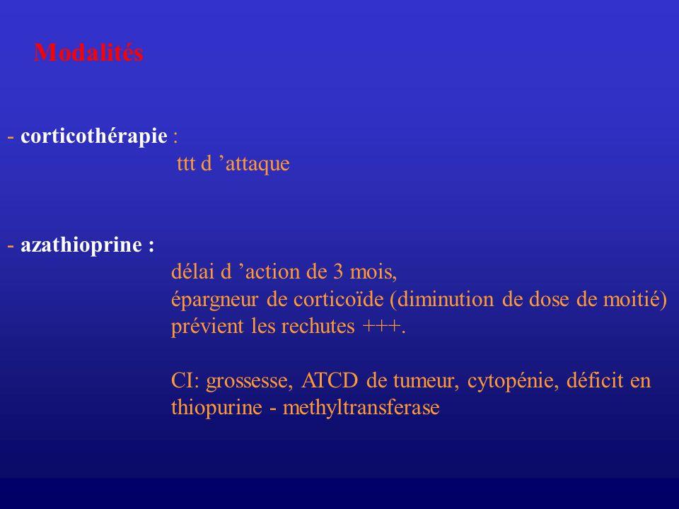 Modalités - corticothérapie : ttt d 'attaque - azathioprine :