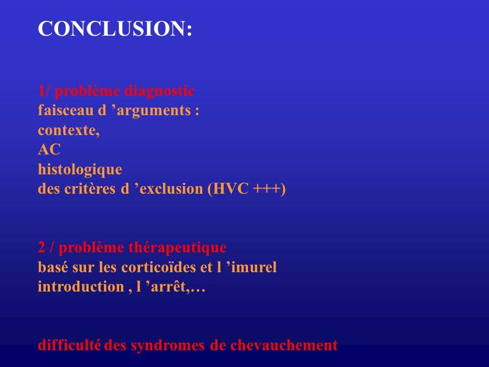 CONCLUSION: 1/ problème diagnostic faisceau d 'arguments : contexte,