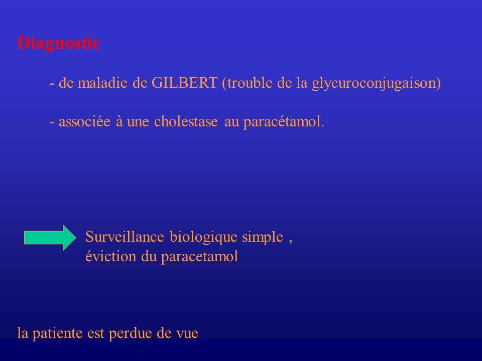 Diagnostic - de maladie de GILBERT (trouble de la glycuroconjugaison)