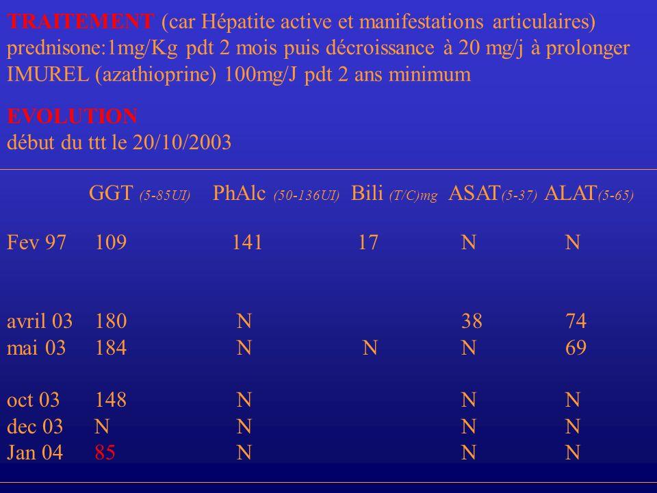 TRAITEMENT (car Hépatite active et manifestations articulaires)